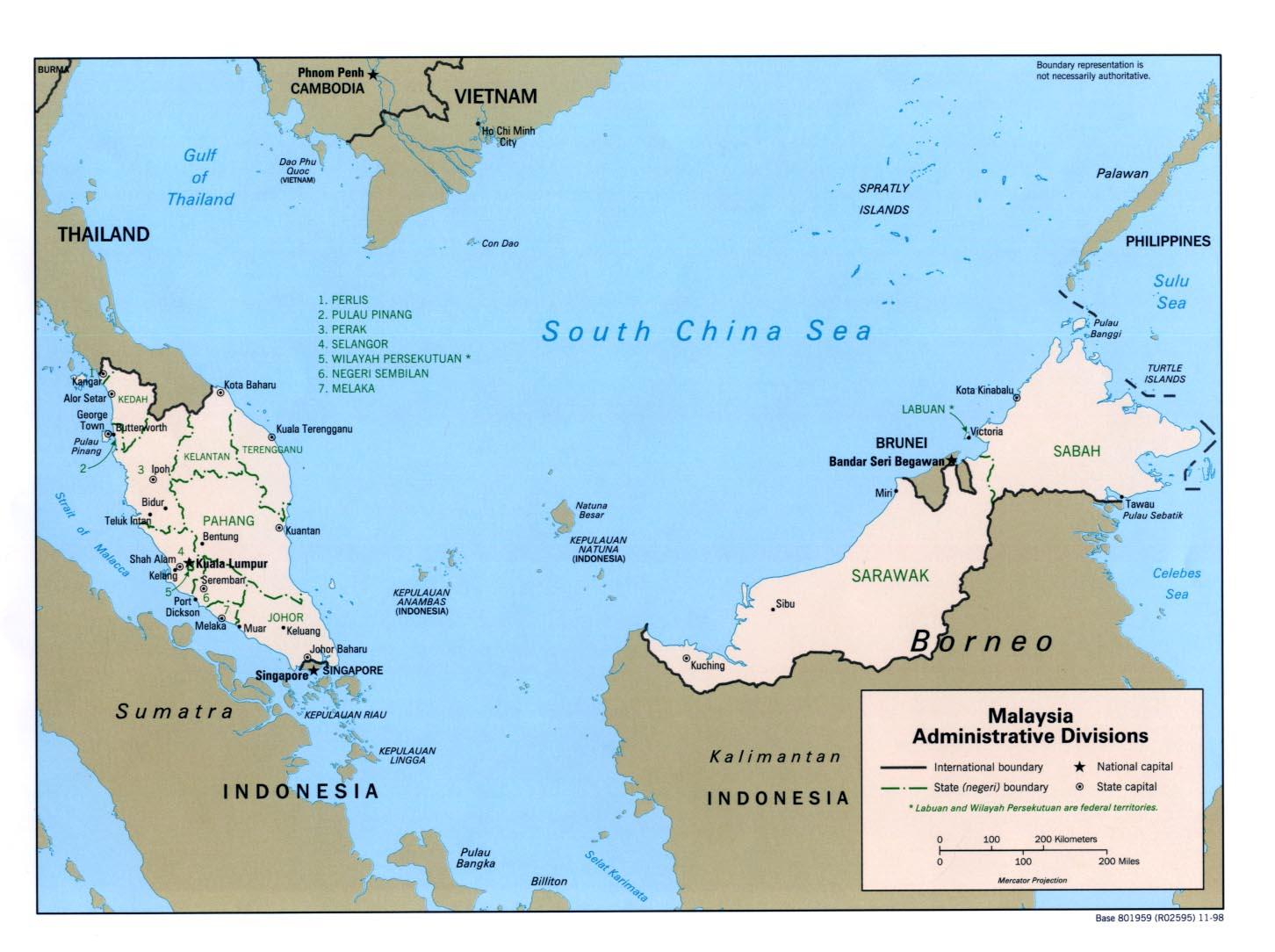 Map of Malaysia (Administrative Divisions) : Weltkarte.com - Karten ...