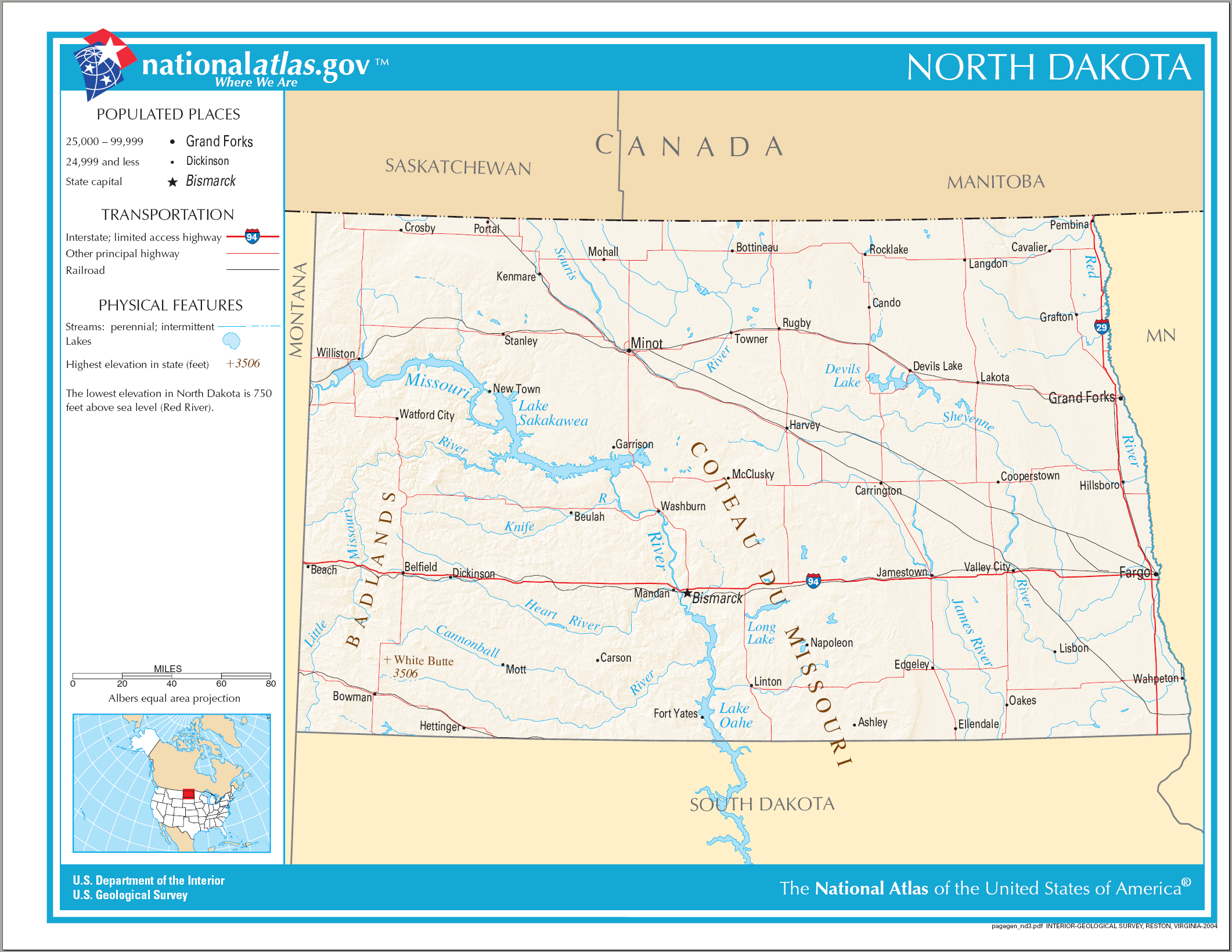 Map of North Dakota (Street Map) : Weltkarte.com - Karten ...