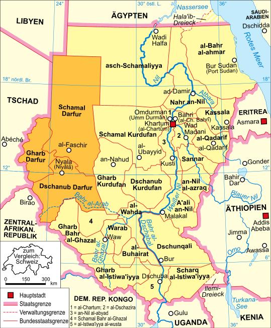 Map of Darfur (Sudan) : Weltkarte.com - Karten und Stadtpläne der Darfur Sudan Map on